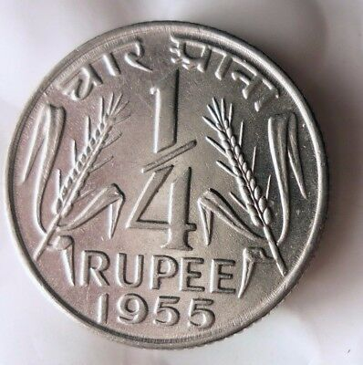 1955 INDIA 1/4 RUPEE - High Quality Collectible  -FREE SHIPPING - India Bin #A