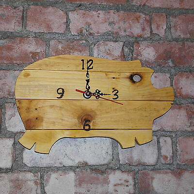 Rustic Pig shaped handmade pallet wood clock shaby chic recycled up cycled