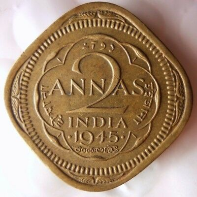 1945 INDIA 2 ANNAS- High Quality Collectible  -FREE SHIPPING - India Bin #A