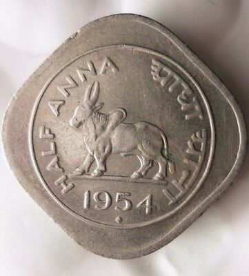 1954 INDIA 1/2 ANNA  - High Quality Collectible  -FREE SHIPPING - India Bin #A
