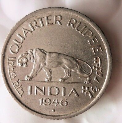 1946 INDIA 1/4 RUPEE  - High Quality Collectible  -FREE SHIPPING - India Bin #A