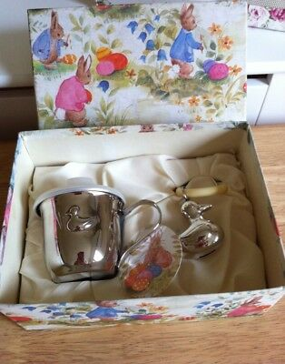 Vintage Grenadier Bobtails Silver Plated Baby Cup & Rattle Little Ducklings