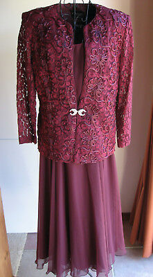 AS NEW MOTHER OF BRIDE, FORMAL, PLUM SLEEVELESS DRESS & LACE JACKET SUIT Size 12