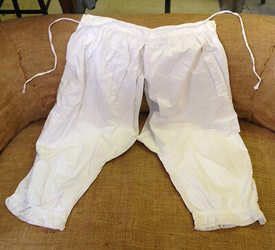 Antique Pair of French Bloomers - Embroidered Linen c1900s