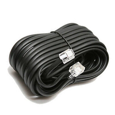 40 FT Feet RJ11 4C Modular Telephone Extension Phone Cord Cable Line Wire Black