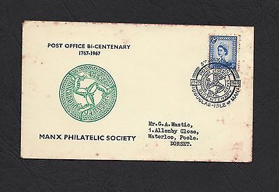 1967 Manx Philatelic Society Post Office Bi-Centenary  Cover with 4d IM Stamp