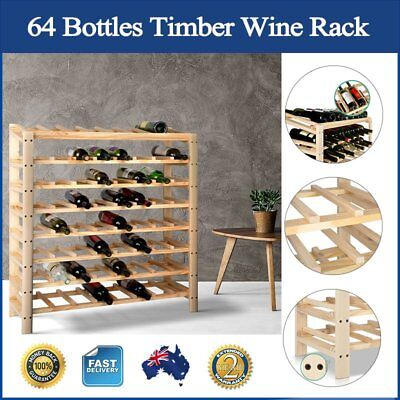 64 Bottles Timber Wine Rack Storage Organiser Home Decor Shelving Space Saving