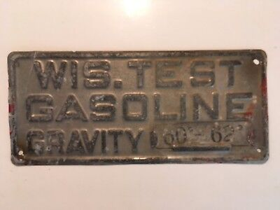 1930's Wisconsin Test Gasoline Gravity Metal Ad Sign Oil Gas Station Pump Topper