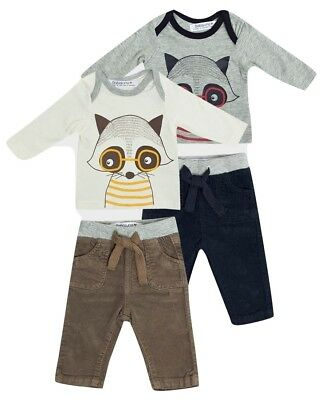 Babaluno Baby Boys Raccoon Top & Trousers Set - Cream & Grey - Ages 0-12 Months