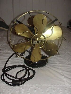 """Vintage 1912 Western Electric Brass 6 Blade & Cage Electric Fan 12"""" Works ~NICE~"""