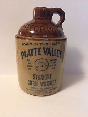 Vintage 1970 McCormick Platte Valley Straight Corn Whiskey Stoneware Jug Bottle