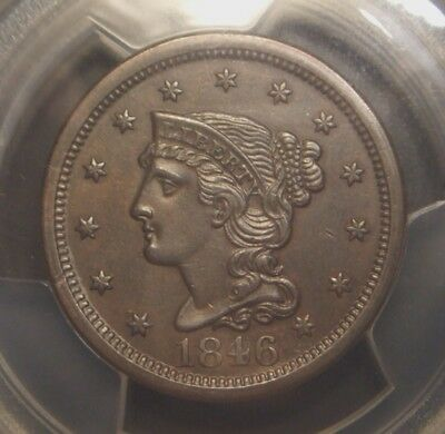1846 Braided Hair Large Cent, Medium Date Variety, Pcgs Graded Au55