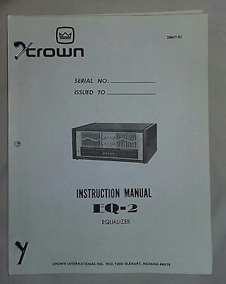 1S Crown EQ-2 instruction / service manual.