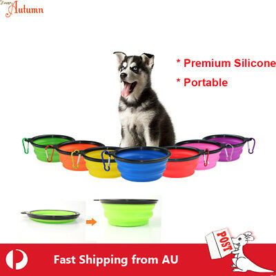 Dog Cat Portable Silicone Bowl Collapsible Travel Pet Water Food Feeding Dish