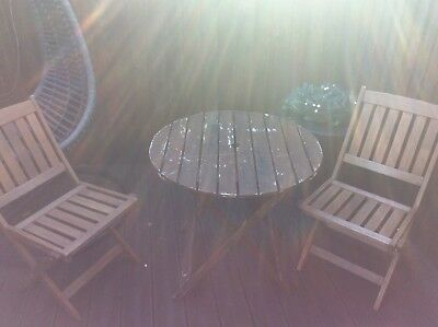 Garden Table And Chairs Rowlinson Teak Wooden X2 Seats Bistro Style