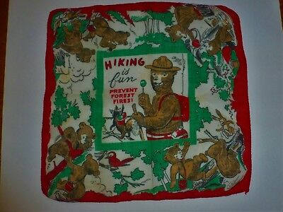 Linens Hanky Vintage Child's Small SMOKEY the BEAR Hiking is Fun