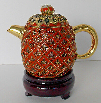 Miniature Cloisonne Teapot Winterthur Museum with Wood Stand