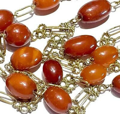 "14k 45.5"" Victorian Cannetille EGG YOLK BUTTER SCOTCH CARAMEL amber necklace"
