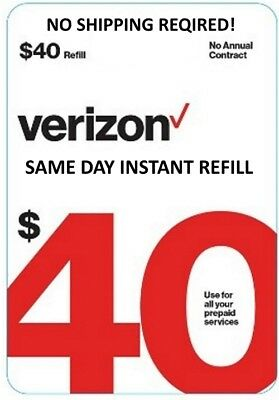 $40 Verizon Direct Refill Re-Up No Shipping Fast Processing!