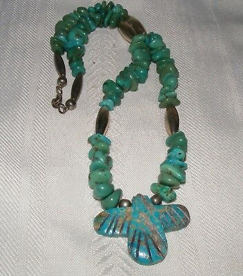 Turquoise Sterling Silver Necklace with Thunderbird