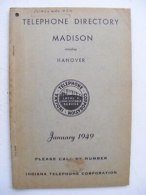 1949 Madison Indiana Telephone Directory Phone Book