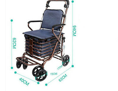Blue Six Wheels Convenient Foldable Shopping Luggage Trolleys With Seat #!