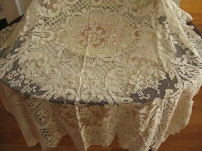 Antique Hm Knotted Filet Linen Curtain Or Tablecloth, Fine Italian Needle Lace!