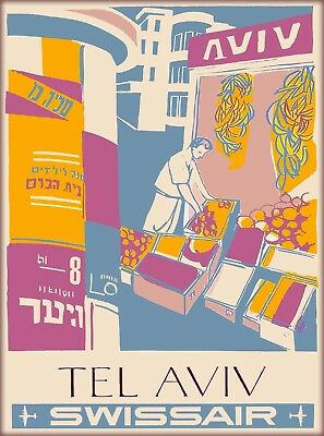 Tel Aviv Israel Palestine Swissair Vintage Airline Travel Advertisement Poster