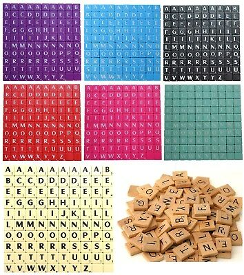 100 Plastic / Wooden Scrabble Letters / Tiles, Mix and Match, Pack of 100s