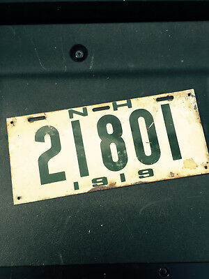 1919 New Hampshire NH License Plate 21801