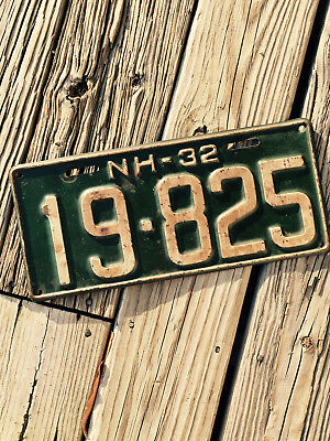 1932 New Hampshire NH License Plate 19-825