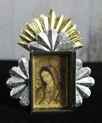 Tiny Gold & Silver Hand Made Tin Retablo Our Lady of Guadalupe Folk Art Mexico