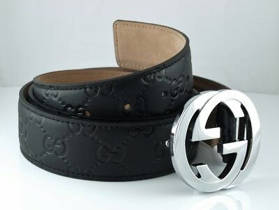 Gucci Black Guccissima Belt Silver Buckle. Comes with Belt and Dustbag. USED