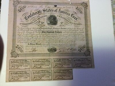 $500 Confederate bond Act Of Congress Feb 20 1863 Soldier over Campfire Type 121