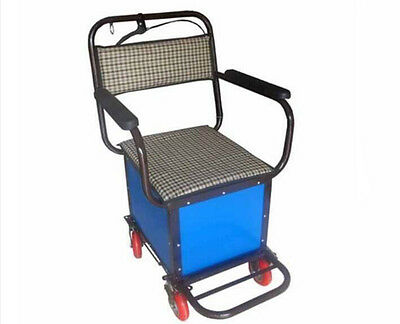 Blue Four Wheels Convenient Foldable Shopping Luggage Trolleys With Seat #!