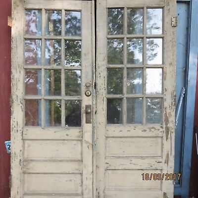 "Two 31""x81"" Antique Vintage Exterior French Double Entry Oak Door Window"