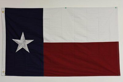 3x5 State of Texas Embroidered Sewn Cotton Flags 100% USA Hand Made w/ Grommets