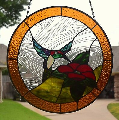 "Stained Glass Window Panel ""Hummingbird"""