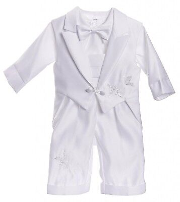 Infant Baby Boys Christening Baptism Outfit With Tail Vest Dove Design Pants Set