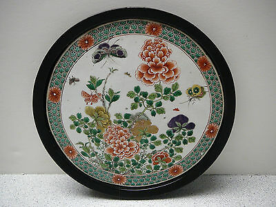 Beautiful Chinese wucai famille verte porcelain plaque butterfly flowers 18/19C