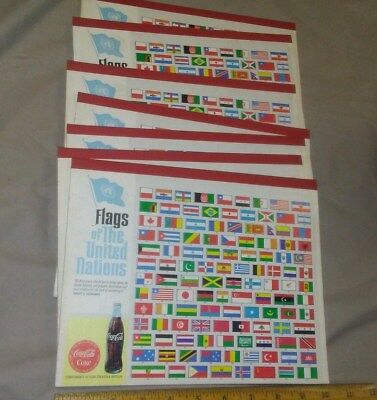 """LOT 7 VINTAGE Coca Cola VINTAGE  School Tablets """" Flags of the United Nations """""""