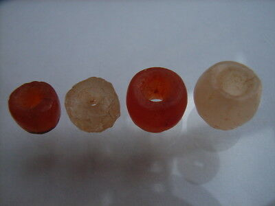 4 Ancient Neolithic Rock Crystal, Carnelian Beads, Stone Age, VERY RARE!  TOP !!