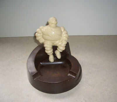 Vintage Michelin Bakelite Brown Ashtray with Tyre Man USA
