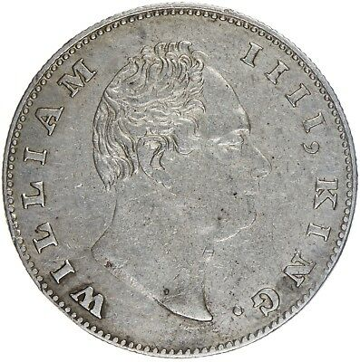 India British William IV 1835. AR Rupee F Incuse