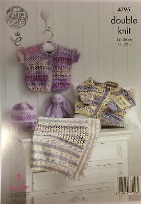 King Cole Baby Knitting Pattern 4795 Cardigans, Hat and Blanket