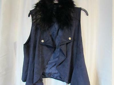 NWT INC International Concepts 2X Vest Faux Fur Collar Removable Navy Org $109.5