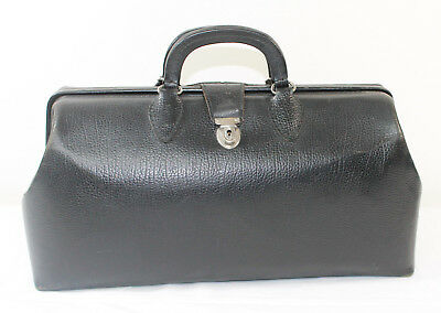 """Vintage SCHELL Black Cowhide Leather Doctor House Call Satchel Bag 16"""" w/ Key"""