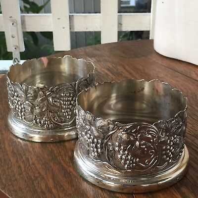 Pair Of Vintage Silverplate Wine Bottle Coasters W Wooden Bases