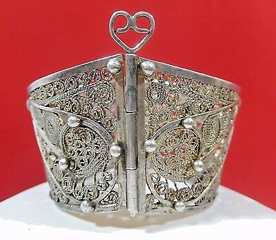 Magnificent Antique Persian Hand Spun  Silver Filigree Wide Hinged Cuff Bracelet