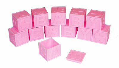 12 Piece Plastic Baby Blocks Package Pink 1.75 x 1.75 candy cup - open tops